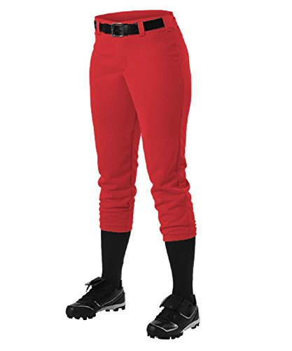 Alleson Ahtletic Women's Fast Pitch Softball Belt Loop Pants, Scarlet, - Pants Scarlet