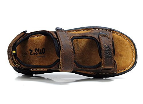 Dqq Mens Crazy Horse Cuir Velcro Sangle Sandale Marron
