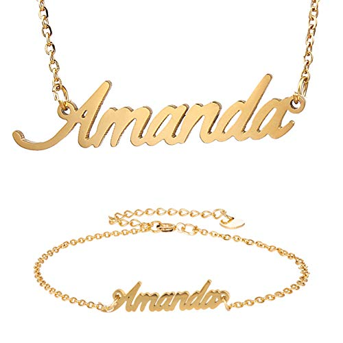 HUAN XUN Best Friend Amanda Gold Name Necklace Bracelet Jewelry Set