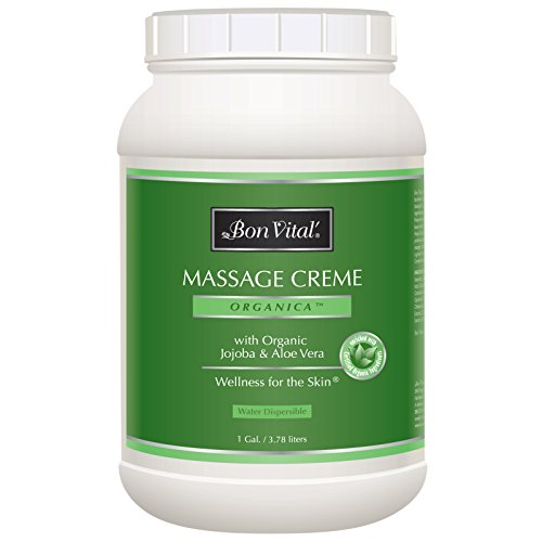 (Bon Vital' Organica Massage Crème, Professional Massage Therapy Cream with Certified Organic Ingredients for an Earth-Friendly & Relaxing Massage, Organic Jojoba Oil for Easy Glide, 1 Gallon Jar)