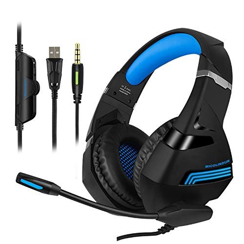 Micolindun A2-A Game Headphones are Suitable for PS4,PC,Xbox One Controller,with Microphone Mufflers,Volume Control,7.1 Stereo Surround,Laptop Mac Nintendo Switch Earmuffs,Black Blue.