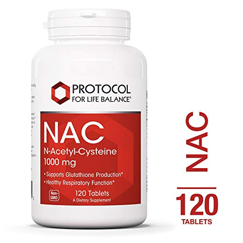 Protocol For Life Balance – NAC N-Acetyl-Cysteine 1,000 mg – Supports Glutathione Production and Promoting Nervous Tissue Health and Healthy Respiratory Function – 120 Tablets
