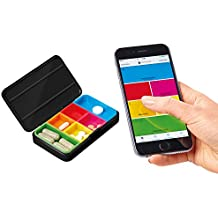 Smart Phone Pill Box, Time Day Dosage Minder, Android & iPhone App, Travel Case with 6 Removable Pods, Pill Buddy System, BLACK