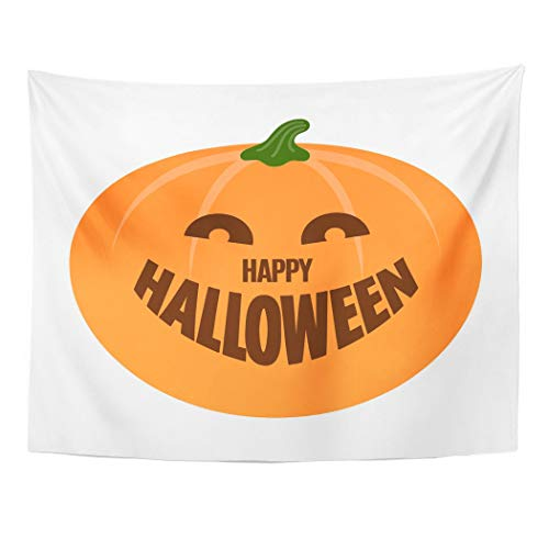 Tarolo Decor Wall Tapestry Orange Abstract Happy Halloween Pumpkin Autumn Candle Cartoon Carving 80 x 60 Inches Wall Hanging Picnic for Bedroom Living Room Dorm