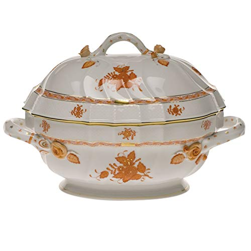 Herend Chinese Bouquet Rust Porcelain Tureen with Branch Handles