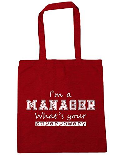 HippoWarehouse I'm a Manager What's Your Supermacht? Einkaufstasche Fitnessstudio Strandtasche 42cm x38cm, 10 liter - Klassisch Rot, One size