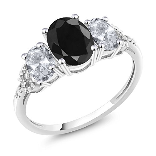 Gem Stone King 10K White Gold Black Sapphire White Topaz and Diamond Accent 3-Stone Engagement Ring 2.71 Ct (Size 7)