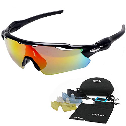 HTTOAR Sports Sunglasses Polarized Protection UV400 Cycling Glasses with 5 Interchangeable Lenses for Cycling, Baseball,Fishing,Golf, Ski Running from HTTOAR