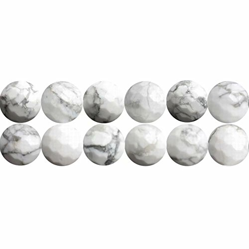 SKYBEADS Howlite 8mm Beads in Bulk Wholesale Faceted Natural White Gemstone Beads for Bracelet Necklace Making Sold by One Strand 15 inches APX 46 Pcs Hole Size ()