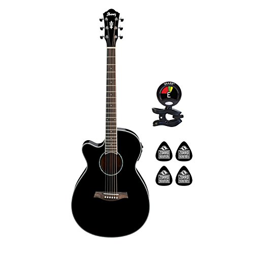 Ibanez AEG10LII-BK Left Handed 6 String Left Handed Acoustic Electric  Guitar with Spruce Top and AEQ-SP1 Preamp Guitar Package with Clip on  Guitar