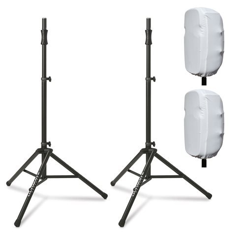 Ultimate Support TS-100 Speaker Stands with 15-inch Stretch Speaker Covers White by Ulitmate Support