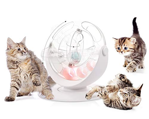 Pecute Cat Toy 360° Space Spinning Ball Toy Roller Cat Toy Mental and Physical Exercise Training Toys Equipped with Bell Dazzle Ball, Cat Mint Ball 2