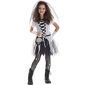 Dead Bride Halloween Costume.Deluxe Girls Kids Childrens Halloween Party Gothic Bride