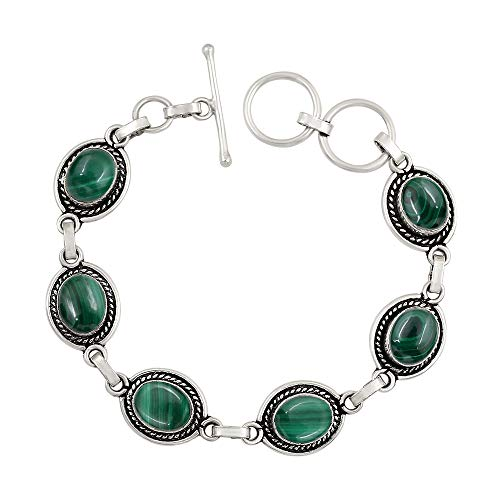 Genuine Oval Shape Malachite Link Bracelet 925 Silver Plated Handmade Oxidized Finish Vintage Bohemian Style Jewelry for Women Girls