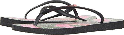 Havaianas Women's Slim Floral Sandal, Black 37/38 BR (7/8 M US) - Havaianas Floral Flip Flops