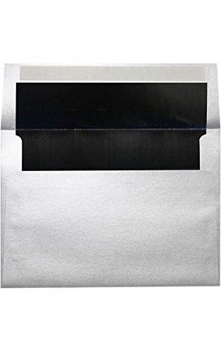 Black Lux Lining - A4 Foil Lined Invitation Envelopes (4 1/4 x 6 1/4) w/Peel & Press - Silver w/Black LUX Lining (50 Qty.) | Perfect for the HOLIDAYS, RSVP Cards, Announcements, Notes, and More! |FLSL4872-02-50