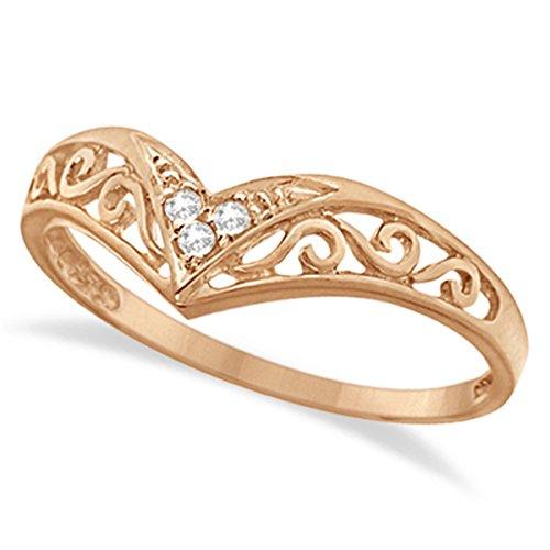 Antique Style Chevron V shaped Diamond Filigree Ring Band For Women 14k Rose Gold (Antique Style Diamond Band Ring)