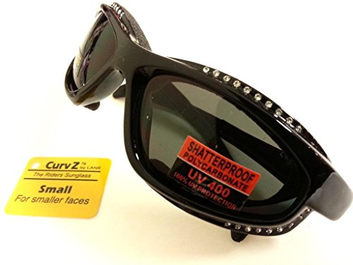 CurvZ #02-18 Womens Sunglasses- Small Frame for Smaller Women - Padded Foam Motorcycle Riding Eyewear - 38 Rhinestones!