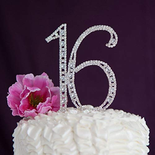BlackC Home Rhinestone Sixteen 16 Number 16th Birthday Cake Topper Party Decoration