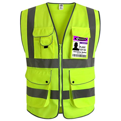 2 Division Vest - JKSafety 9 Pockets Class 2 High Visibility Zipper Front Safety Vest With Reflective Strips, Yellow Meets ANSI/ISEA Standards (Medium)