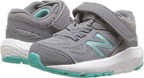 New Balance Girls' 519v1 Hook and Loop Running Shoe, Gunmetal/Aquarius, 6.5 XW US Toddler