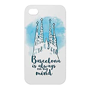 Loud Universe Apple iPhone 4/4s 3D Wrap Around Barcelona Print Cover - White/Blue