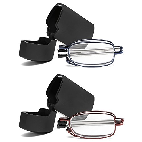 - FEISEDY Folding Reading Glasses 2 Pair Unisex Reader Compact Glasses with Case B2432-BL/RE-2.50