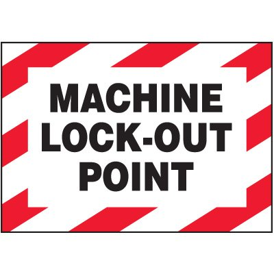 Vinyl Lock-Out Labels - Machine Lock-Out Point - 3-1/2''h x 5''w, White MACHINE LOCK-OUT POINT - Decal-Machine Lock-Ou../3.5Hx5W Adhesive