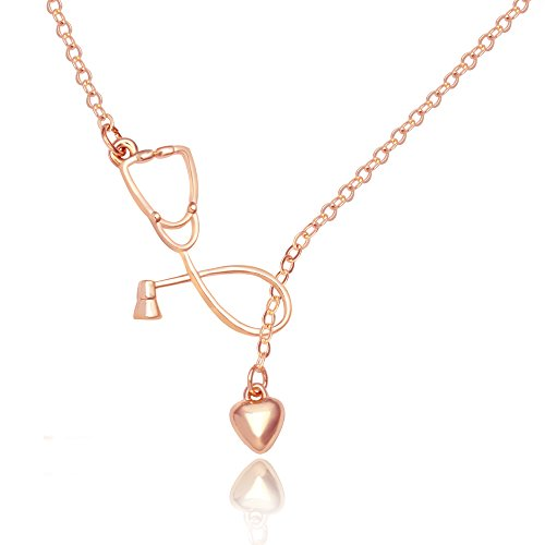 SENFAI Stethoscope Lariat Necklace Heart and Stethoscope Pendant for Doctor Medical Student Gift the Doctor Nurse Jewelry (Rose gold)