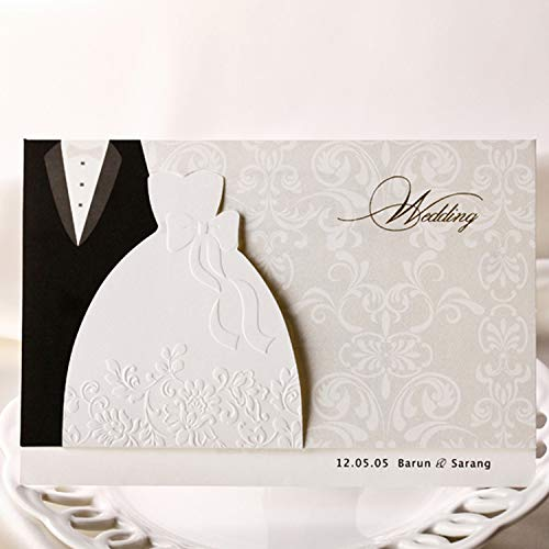 OUOK 100pcs/lot Wedding Invitations Cards Groom and Bride Evening Dress Free Printable Invitation Card for Wedding Elegant BH2046,Blank Pages