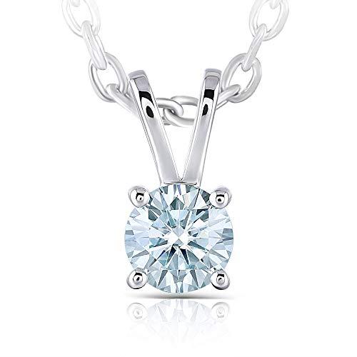 DovEggs Platinum Plated Silver 1ct 6.5mm Heart Arrows Cut Moissanite Pendant Necklace Solitare With Platinum Plated Silver Chain for Women
