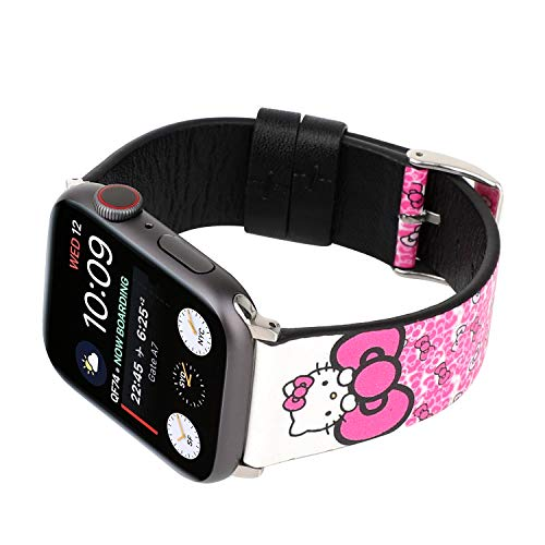 - Lovely Style Watch Band Strap Cute Dressy Leather Wristband Bracelet Compatible with 40mm 38mm Apple Watch Series 4/3/2/1 (Pink/White)