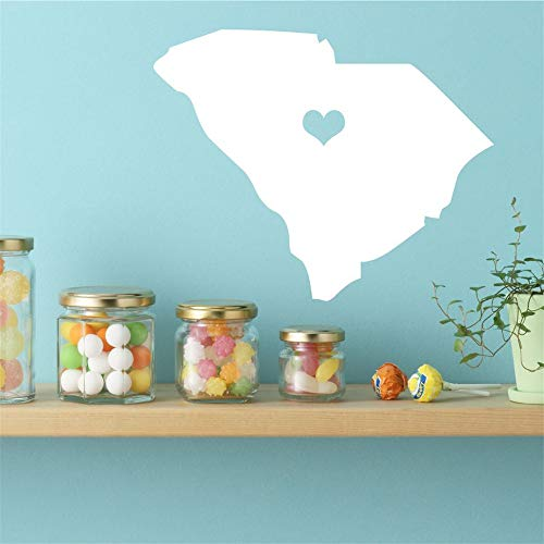 Wall Sticker Quotes Decals Decor Vinyl Art Stickers South Carolina State Vinyl Wall Decal - Map Silhouette Decoration for Living Room Bedroom Nursery Kids Room