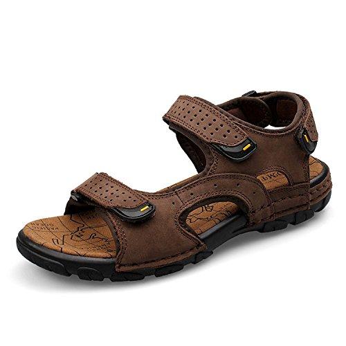 Sport Sandale, Nasonberg Cowhide Unisex Herren Damen Strand Wandern Sommer Sandale im Freien Wandern Sport Sandale- Dunkelbraun, 43 EU