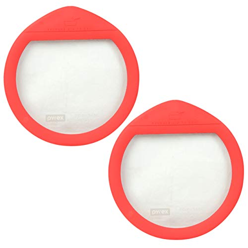 Pyrex Ultimate OV-7402 Red 7 Cup Round Glass Storage Lid - 2 ()