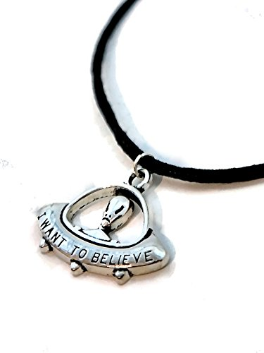 Believe Spaceship Flying Saucer Necklace product image