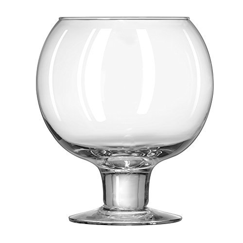 Cocktail Fish Bowls - Libbey Super Globe Footed Fish Bowl Glass - 51 oz - Hand Blown (SINGLE)