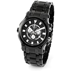 Renato 50CB-A-50CB-5040D 50mm Ion Plated Stainless Steel Case Black Steel Bracelet Mineral Men's Watch