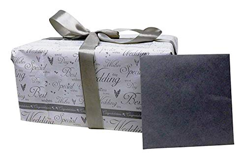 Congratulations Gift Tag (Silver Wedding Gift Wrapping Set Includes Wrapping Paper, Tissue Paper, Greeting Card,