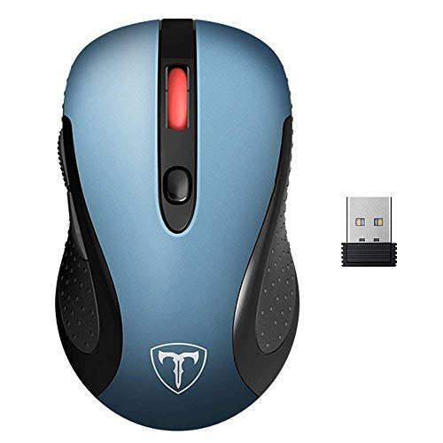 VicTsing Wireless Mouse for Laptop, 2.4G Portable USB Mouse Computer Mouse, Fit Hand Nicely, 5 Adjustable DPI, Page Down/Up Buttons, 20 Months Battery Life , Designed for PC, Desktop, Laptop(Blue)