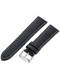 Hadley-Roma Men's MSM909RA-220 22mm Black Genuine Lorica Leather WatchStrap
