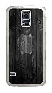 Samsung Galaxy S5 Case, Wood Apple Logo Clear Plastic Hard Snap on Protective Case Back Cover for Samsung Galaxy S5 I9600