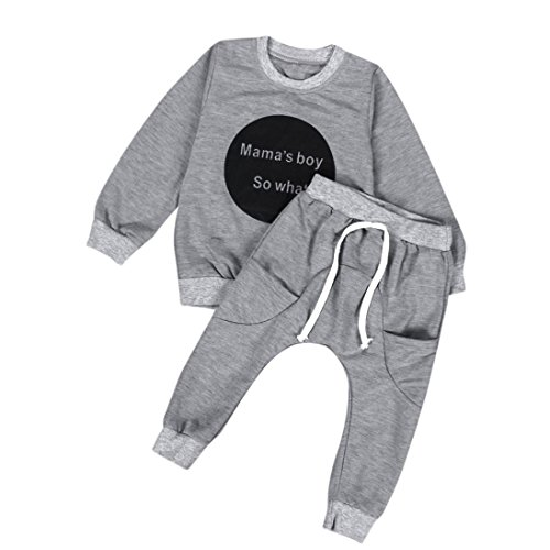 YANG-YI HOT Toddler Kids Baby Girls Boys Cute Outfit Clothes Long Sleeve T-shirt Tops+Pants (Gray, ()