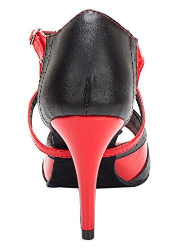 TDA - Zapatos con tacón mujer 8.5cm Heel Black Red