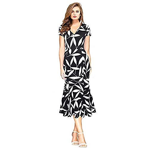 Eleter Womens Vintage Floral Print Short Sleeve V Neck Empire Waist Maxi Party Dress(L.Black) lack