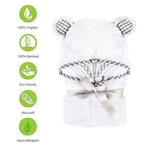 100% Organic Bamboo Hooded Baby Toddler Towel with Washcloth Set by Delxar - Premium Hypoallergenic 500GSM Extra Large (35X35) for Boys and Girls Baby Shower Gift