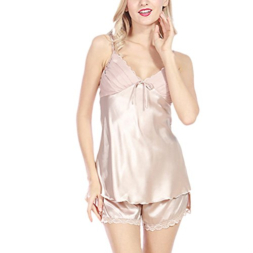 Zhhlinyuan Fashion Ladies Satin Cami and Shorts Sleepwear Set Nightwear Lace Trim Pajama Camel
