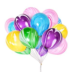 METALBAY Globos de Ágata de Colores 60 Piezas, Globos de Fiestas de Látex para Cumpleaños, Boda y Aniversarios 30cm / 12 Pulgadas (Multicolor)