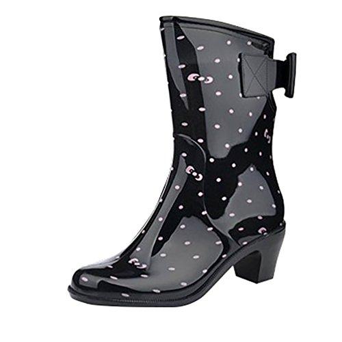 LvRao Women's Rain Footwear Wellington Boots Waterproof Wellies Smooth Rubber Garden Shoes Black