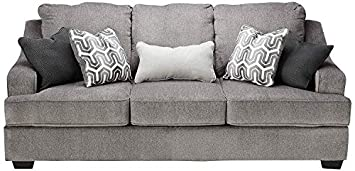 Ashley Furniture Signature Design – Gilmer Chenille Upholstered Queen Size Sleeper Sofa – Contemporary – Gunmetal